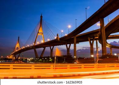 Bhomibol bridge at twilight time, Bangkok, Thailand