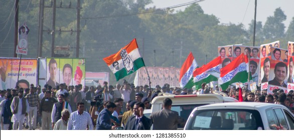 Bhopal - 17-11-2019 congress workers waving there flag in cm kamal nath oath ceremony Jamburi Ground bhopal, MP. India