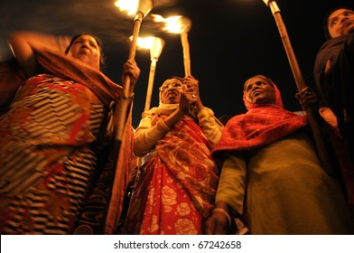 "BHOPAL- DECEMBER 2:  ""Woman of Bhopal"" during the torch rally organized to mark the 26th year of Bhopal gas disaster, in Bhopal - India on December 2, 2010."
