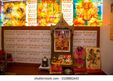 Bhopal / India 12 March 2019 Photo Frame of lord rama laxman sita hanuman at Gufa Mandir (Cave Temple) in Bhopal Madhya Pradesh central India