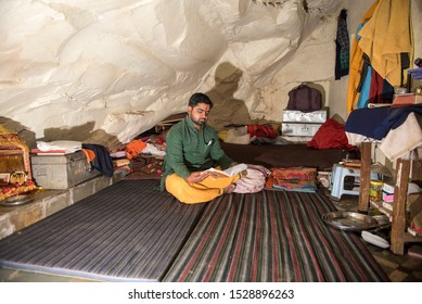Bhopal / India 12 March 2019 Gurukula student studying the ancient language Sanskrit in the cave at Bhopal Madhya Pradesh central India