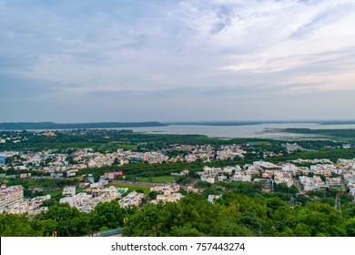 BHOPAL, MADHYA PRADESH, AUGUST, 2017: View of Bhopal city with upper lake in backdrop from Manuabhan Tekri at Bhopal also known as 'city of lakes' & it is capital city of Madhya Pradesh, India.
