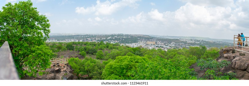 BHOPAL MADHYA PRADESH JUNE 2018 Couple watching Wide view of bhopal city from Manuabhan Tekri