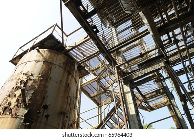 BHOPAL - NOVEMBER 17: Part of the Union Carbide plant that caused the biggest Industrial disaster in 1984  in Bhopal - India on November 17, 2010.