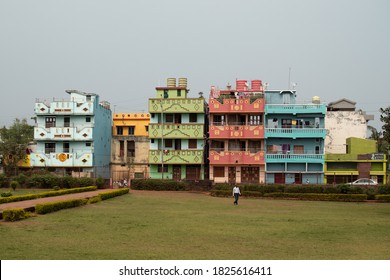 Bhubaneswar, India - February 4, 2020: View of colorful apartment buildings by Bhaskaraswar Temple on February 4, 2020 in Bhubaneswar, India