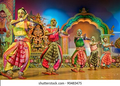 BHUBANESWAR, INDIA - NOVEMBER 24: An unidentified group of male dancers wear traditional Ladies costume and performs Gotipua dance at Rabindra Mandap on November 24, 2011 in Bhubaneswar, India