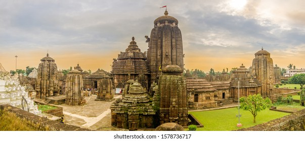 BHUBANESWAR,INDIA - NOVEMBER 9,2019 - Panoramic view at the Lingaraja Temple Complex in Bhubaneswar. Bhubaneswar is the capital and largest city of the Indian state of Odisha.
