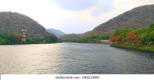 Bhumibhol Dam In Thailand. beautiful dam. The largest dam in Thailand. Curved concrete dam.