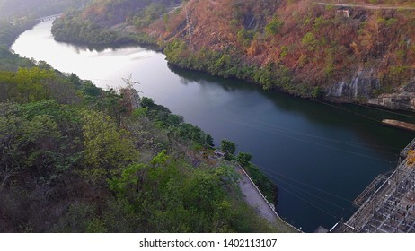 Bhumibhol Dam In Thailand. beautiful dam. The largest dam in Thailand. Curved concrete dam.