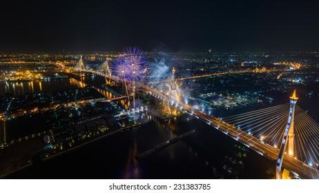 Bhumibol Bridge and Bangkok City view with Colorful Fireworks, Thailand