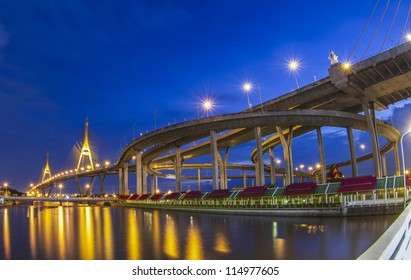 Bhumibol bridge in Bangkok, Thailand