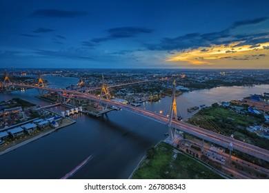 Bhumibol Bridge bird's eye view