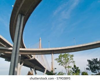 Bhumibol Bridge also casually call as Industrial Ring Road Bridge, Samut Prakarn,Thailand