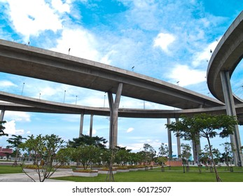 Bhumibol Bridge also casually call as Industrial Ring Road Bridge, Samut Prakarn,Thailand