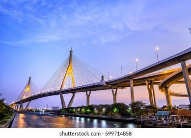Bhumibol Bridge, Chaopraya River Bridge at Bangkok, Thailand on Behalf of the King Bhumibol.
