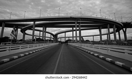 Bhumibol Bridge with cloudy on rainy overcast, Black and white concept