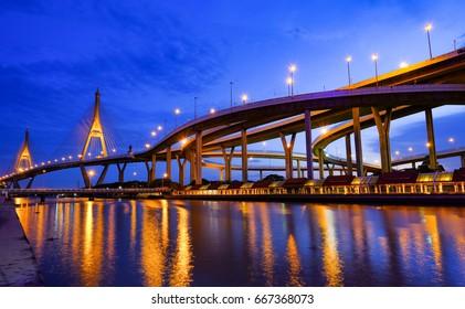 Bhumibol Bridge with Evening Light is the bridge over the Chao Phraya River on 8 June 2017 in Samutprakarn, Thailand.