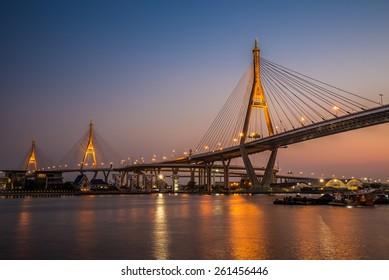 Bhumibol Bridge at evening twilight, Bangkok Thailand - public bridge / No commercial logo