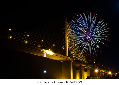 Bhumibol bridge with the firework; Bangkok, Thailand