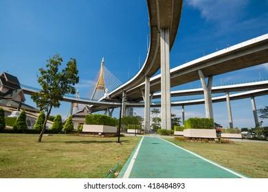 Bhumibol bridge or bridge of industrial rings as the bridge over the river for the industrial ring road.in Bangkok, Thailand