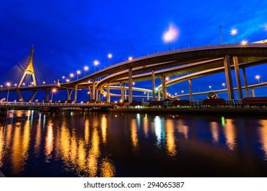 The Bhumibol Bridge also known as the Industrial Ring Road Bridge, at twilight, Bangkok, Thailand.