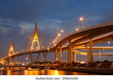 Bhumibol Bridge also known as the Industrial Ring Road Bridge, at twilight, Thailand.