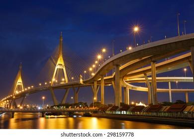 Bhumibol Bridge also known as the Industrial Ring Road Bridge, at night, Thailand.
