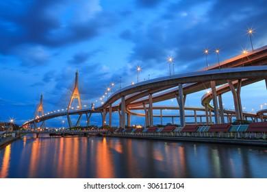 Bhumibol Bridge also known as the Industrial Ring Road Bridge at night, Thailand.