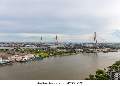 """Bhumibol Bridge is one of the most beautiful bridges in Thailand and area view for Bangkok.The name of this bridge comes from the name of The king of Thailand. Translate text""""Bhumibol Bridge""""."""