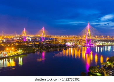 "Bhumibol Bridge is one of the most beautiful bridges in Thailand and area view for Bangkok.The name of this bridge comes from the name of The king of Thailand. Translate text""Bhumibol Bridge""."
