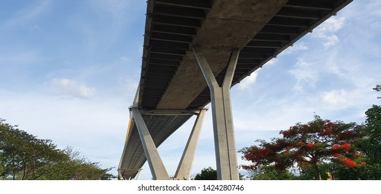Bhumibol Bridge is one of the most beautiful bridges in Thailand and area view for Bangkok