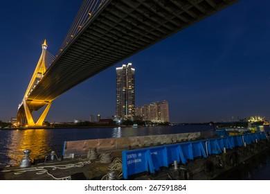 The Bhumibol Bridge over the Chao Phraya river in Bangkok, Thailand