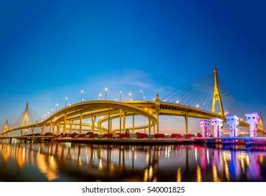 Bhumibol Bridge Panorama and blue sky background in Thailand