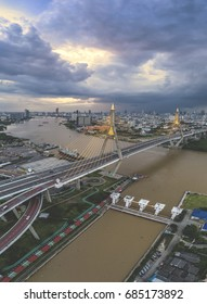 Bhumibol Bridge in Samut Prakan./Sunset at Bhumipol Bridge in Bangkok. /The King of Bridge