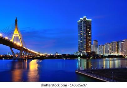 Bhumibol Bridge at sunset, Bangkok, Thailand