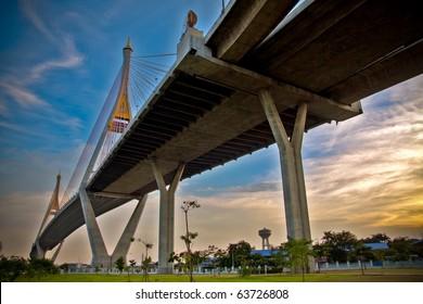 Bhumibol Bridge in Thailand, also known as the Industrial Ring Road Bridge, in Thailand. Mega bridge in thailand.