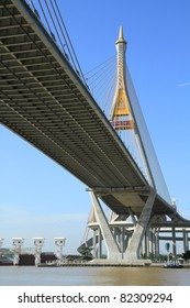 Bhumibol Bridge in Thailand, also known as the Industrial Ring Road Bridge. The bridge crosses the Chao Phraya River.