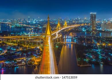 Bhumibol Bridge in Thailand (the Industrial Ring Road Bridge) in Thailand.