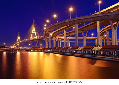 Bhumibol Bridge (The Industrial Ring Road Bridge) in Bangkok, Thailand