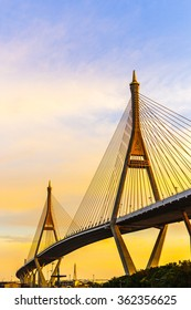 Bhumibol Bridge (The Industrial Ring Road Bridge) in the evening at Samut Prakan, Thailand.