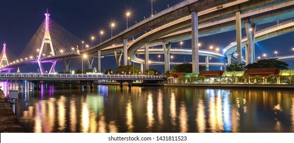 Bhumibol Bridge Time Night ,Bhumibol Bridge Panorama At Night , River bridge