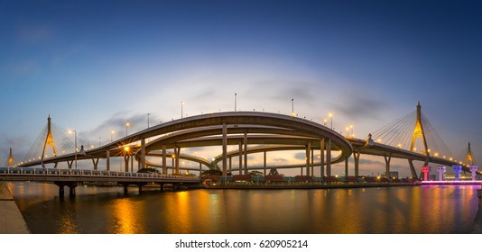 Bhumibol bridge at twilight ,Bangkok Thailand