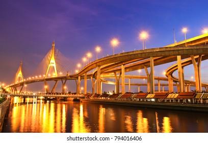 Bhumibol Bridge at twilight, Bangkok, Thailand
