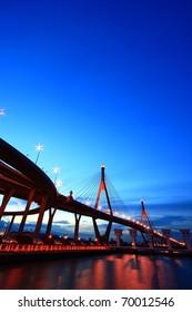 Bhumibol Bridge at Twilight Time, Thailand