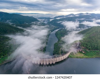 Bhumibol Dam is the first multipurpose dam in Thailand. The curved concrete dam. Approved for survey and construction in 1953.