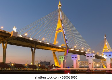 Bhumibol suspension Bridge in Thailand, also known as the Industrial Ring Road Bridge, in Thailand. The bridge crosses the Chao Phraya River.