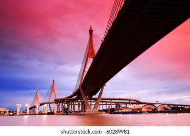 Bhumibol Suspension Bridge Under Sunset, Bangkok