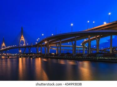 Bhumiphol Bridge known as Industrial Ring Road Bridge, Bangkok, Thailand