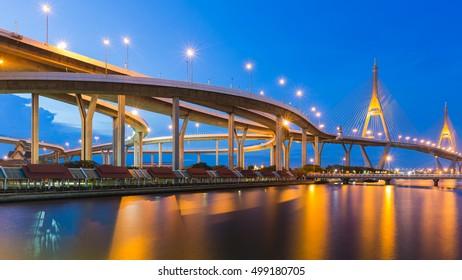 Bhummiphol Suspension Bridge over watergate with twilight sky background