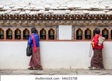 Bhutan - Bhutanese people made merit at the temple.